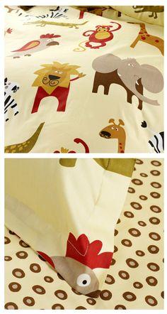 Safari Animals Kids Bedding Twin Duvet Cover Set for Boys & Girls Cute Yellow Wild Jungle Safari Animals, Jungle Safari, Nursery Neutral, Kids Bedroom, Bedroom Ideas, Giraffe, Elephant, Boy Or Girl, Baby Boy