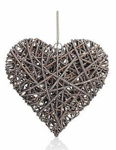 Natural Hanging Wicker Heart
