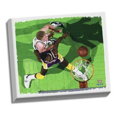 """Steiner Sports Larry Bird and Magic Johnson 32"""" x 40"""" Stretched Canvas, Multicolor"""