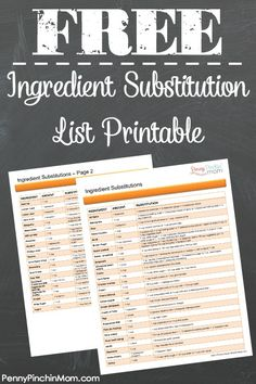 Ever run out of a ingredient in the middle of baking? Find out what you might have on hand for a quick substitution! This is a FREE PRINTABLE which you can print and keep handy in your kitchen.
