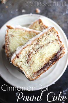 Cinnamon Roll Pound Cake - Creme De La Crumb