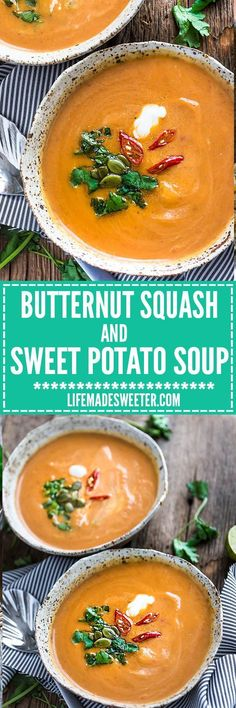 Slow Cooker Butternut Squash & Sweet Potato Soup makes the perfect comforting soup. Best of all, it's so easy to make all in your crock-pot!