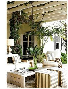 A Beautiful Outdoor Room, neutral colors, stripes.
