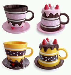 ❤Kawaii Love❤ ~Cute mugs. I can imagine Honey senpai having the cake mug. Cute Cups, Cool Mugs, Cool Inventions, I Love Coffee, Mini Desserts, Funny Mugs, Tea Mugs, Mug Cup, Tea Set