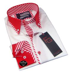 New Mens Formal Red and White Smart Double Collar Slim Fit Shirt 100% Cotton www.tailorcollection.co.uk