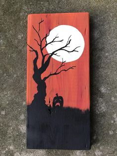 This hand painted picture features a tree and jack-o-lantern under a full moon. This wall hanging measures approx. 5 inches wide and 11 inches tall. Fall Wood Crafts, Halloween Wood Crafts, Halloween Trees, Halloween Signs, Halloween Pictures, Diy Halloween Decorations, Scary Halloween, Fall Halloween, Halloween Quotes