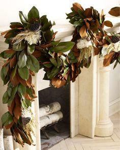 Magnolia Garland. Instructions: http://www2.alabamas13.com/lifestyles/2011/nov/18/2011-inspiration-home-magnolia-garland-57800-vi-109353/