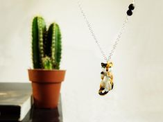 Handmade chat chain necklace with natural onyx  cat necklace