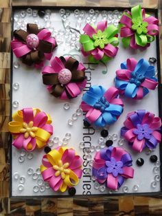 You Choose Pair Small Pom Style Hair Bows with by krapflgirl, $4.25