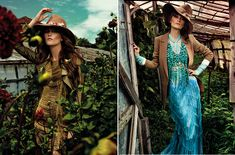 I want that hat.  The turquoise dress is blowing my mind.  From Karen magazine.