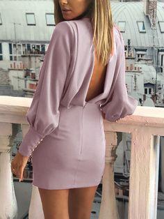 Buttoned Cuff Open Back Ruched Bodycon Dress - Women's Fashion Trend Fashion, Womens Fashion, Ladies Fashion, Mature Fashion, Feminine Fashion, Fashion Top, Fashion Night, Fashion Ideas, Fashionable Outfits