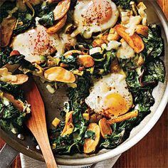 Fingerling Potato-Leek Hash with Swiss Chard and Eggs Recipe | MyRecipes.com Mobile