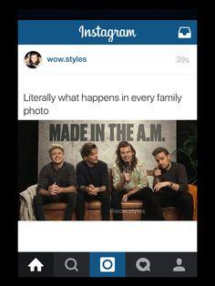 Niall: mom, Louis: dad, Harry: toddler, Liam: teenage badboy