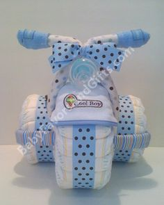 Tricycle Diaper Cake Blue For Boy