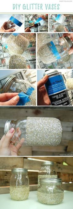 Easy and cheap DIY glitter vases. Perfect for events, showers, or just a fresh new sparkling home accessory! Click through for tutorial.   MakeItYelloh.com
