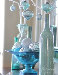 Christmas Decor & Vintage Style Blue Glass Bowl ~ Mary Wald's Place - blue glass bowl with ornaments