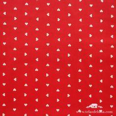 Tela roja corazones blancos