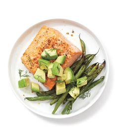 Salmon, Green Beans, and Avocado | Take the guesswork out of dinnertime with these super speedy, super delicious suppers.