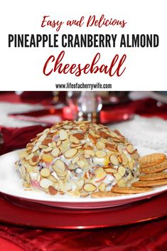 Quick and easy recipe for Pineapple Cranberry Almond Cheeseball. Fast and delicious appetizer recipe for gatherings and parties.