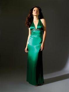 Halsträger lange grüne Abendkleider aus Satin Hamburg