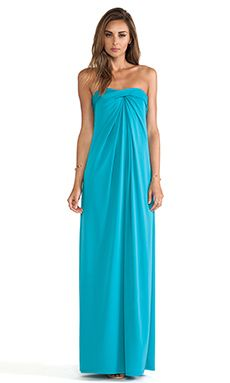 Halston Heritage Strapless Structured Dress with Flare Skirt in Caribbean | REVOLVE