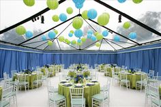 blue green tent decor