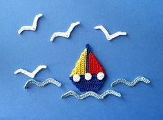 Sailboat, Seagull & Waves Applique / CROCHET pattern