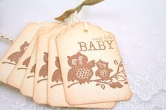 Baby Shower Gift Tags Favor Tags Neutral Boy Girl Vintage Owl