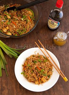 Vegetable chow mein with instant ramen noodles