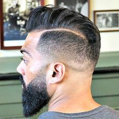 High Fade with Hard Part and Comb Over Pomp