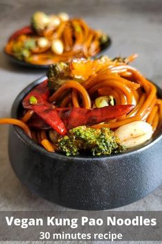 Vegan Kung Pao Noodles with Charred Broccoli is a delicious vegan Asian recipe that gets ready within 30 minutes. The combination of hot and sweet slurpy noodles with crunchy peanuts and charred broccoli makes it irresistible. #vegankungpaonoodles #kungpaonoodles #vegannoodles #easyvegandinner #veganasianrecipe Easy Asian Recipes, Entree Recipes, Lunch Recipes, Beef Recipes, Ethnic Recipes, Dinner Recipes, Vegetarian Main Course, Vegetarian Meal Prep, Vegetarian Recipes