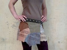 Wrapskirt Leather Patchwork Suede Skirt with Fringes by coisasEDGY