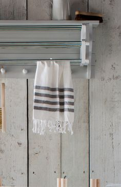 Set of 2 Tea Towels with Grey Stripes