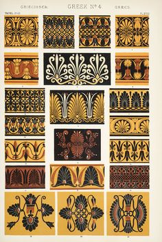 Image Plate from Owen Jones 1853 classic, The Grammar of Ornament. Ancient Greek Art, Ancient Greece, Ancient Book, Egyptian Art, Ancient Aliens, Ancient Artifacts, Ancient Egypt, Ancient History, Greek Pattern