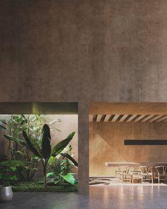 Architecture Résidentielle, Mediterranean Architecture, Biophilic Architecture, Patio Interior, Interior And Exterior, Casa Park, Tadelakt, Park Homes, Dream Home Design