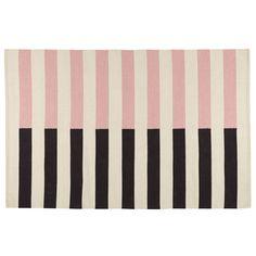 Half Stripe Kids Area Rug (Pink) | The Land of Nod
