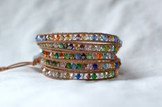 Beaded Wrap Bracelet, Five times wrap with Multi-Colored Faceted Glass.
