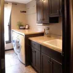 deep counter space over appliances, sink    traditional laundry room by Mullet Cabinet