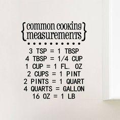 Cooking Measurements Vinyl Decal   Kitchen Decals, Home, Wall Art, Door Decor, 8.25x9.5 Vinyl Flooring Kitchen, Kitchen Decals, Cooking Measurements, Oracal Vinyl, How To Apply, How To Get, Vinyl Decals, I Shop, Wall Art