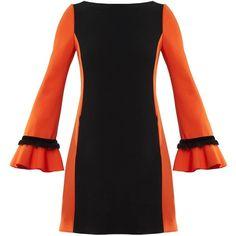 Victor Xenia London - Jade Dress Orange ($415) ❤ liked on Polyvore featuring dresses, orange dresses, jade dresses and sleeved dresses