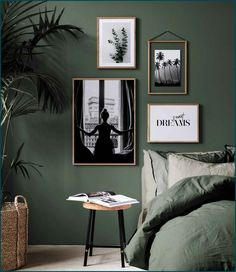 Simple ways to add Green Vibes to your Home botanical interior design i. , Simple ways to add Green Vibes to your Home botanical interior design ideas dark green bedroom with white art. Interior Design Inspiration, Home Decor Inspiration, Home Interior Design, Design Ideas, Decor Ideas, Design Trends, Decorating Ideas, Interior Ideas, Design Design