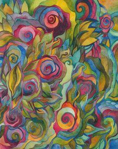 Greensong  Original Watercolor by Megan Noel by meinoel on Etsy