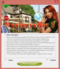 "Mysteryville 2 Hack Tool is a special hack created for ""Android"" & ""iOS"" smartphones/tablets which with your computer windows/mac/linux and an USB cable help you can easily unlock full game version in less than a minute without jailbreak or root your device.  View more here: http://smarth4ck.blogspot.com/2013/07/mysteryville-2-all-chapters-unlocked.html"