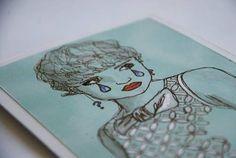 Grumpy Girl Greeting Card. Shiv Illustration.