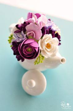 Mini Teapot Clay Flower Arrangement with Ranunculus, Sweet Peas, Hyacinth, Garden Roses and Lilac