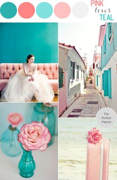Looking for your wedding color palette? The Perfect Palette wants to help! The Perfect Palette is dedicated to helping you see the many ways you can use color to bring your wedding to life. Teal And Pink, Pink Love, Pink Color, Blush Pink, Teal Colors, Coral Color Schemes, Tiffany Blue Color, Turquoise Blue Color, Pastel Colours