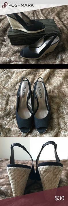 """EEUC, Worn 1x, Black Peep Toe Espadrille Wedges 9 Feel sexy and beautiful in these espadrille peep toe heels! Cute with jeans, shorts or dresses!  Well-made, substantial, canvas upper. Woven lower, with rubber sole.  4.25"""" heel. Size 9.  🚫Trades Please 👍 Reasonable Offers Moda Spana Shoes Wedges"""