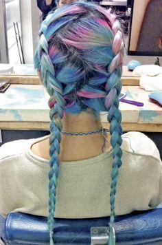 gorgeous pastel rainbow braids