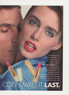 1988 Coty 24 Lipstick Advertisement Make Up Cosmetics by fromjanet