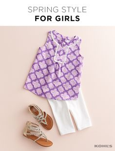Spring is all about lightening up, and what better way than to work more white into your little one's outfits? Try a white and purple peasant tank with white shorts and metallic gladiator sandals for a pop of shine. Find the latest styles for girls at Kohl's.